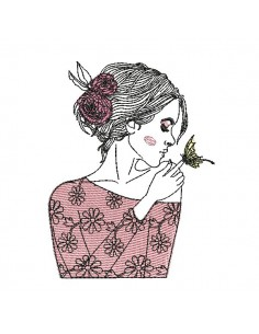 Motif de broderie machine femme au papillon