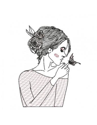 Motif de broderie machine mylar  femme au papillon