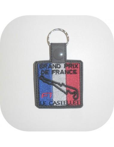 Motif de broderie machine porte clé circuit France  ITH