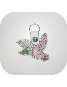 machine embroidery design Mallard duck mylar keychains ith