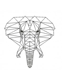 Instant download machine embroidery design geometric elephant head