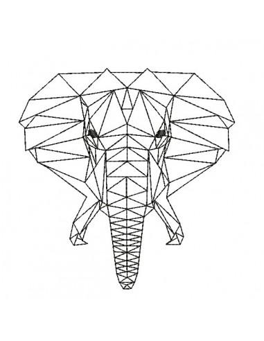 Motif de broderie machine tête d'éléphant origami