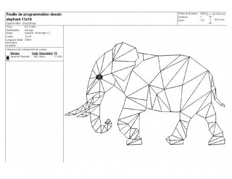 Motif de broderie machine éléphant origami