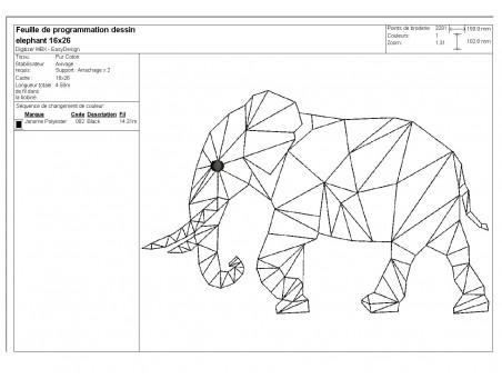 Instant download machine embroidery design geometric elephant head