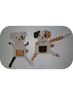Motif de broderie machine doudou  chien  ITH