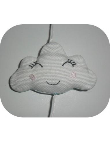 Motif de broderie machine mobile nuage  ITH