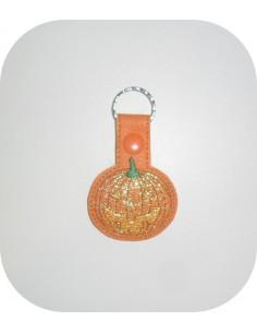 machine embroidery design pumpkin mylar keychains ith
