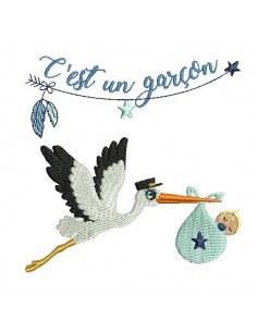 Instant download machine embroidery design stork baby girl