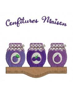 Motif de broderie machine confitures prunes, figues mûres