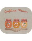 Motif de broderie machine confitures pêche, orange et abricots