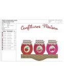 Motif de broderie machine confitures de fraise, cerises, framboises