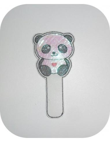 Motif de broderie machine ITH marque pages panda