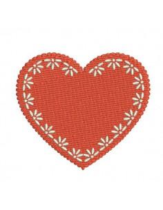 Motif de broderie machine coeur romance