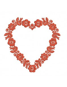 Embroidery design heart frame