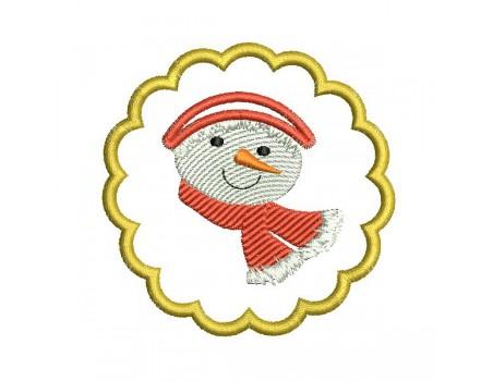 motif de broderie machine  rond de serviette festonné bonhomme de neige ITH