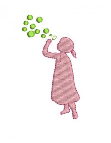 Motif de broderie fille aux bulles