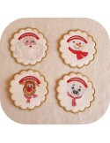 Instant dowload embroidery design  machine snowman scalloped napkin ring  ITH