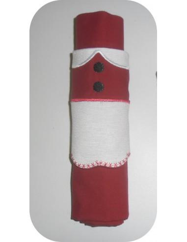 motif de broderie machine  rond de serviette Mère Noël  ITH
