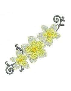 Motif de broderie machine fleurs de frangipanier