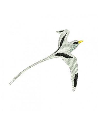 Motif de broderie machine oiseau paille en queue