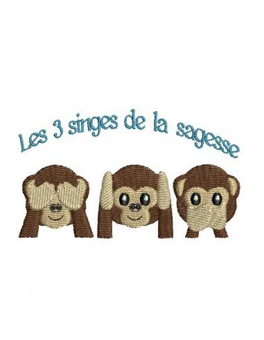 Motif de broderie machine les 3 singes de la sagesse
