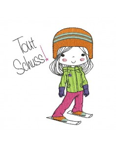 Instant download machine embroidery design little girl skier