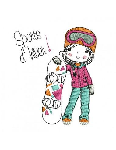 Motif de broderie machine fillette avec son snowboard