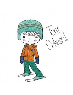 Instant download machine embroidery design little boy skier