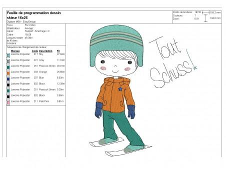 Instant download machine embroidery design little girl skier