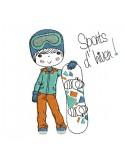 Motif de broderie machine garçon avec son snowboard