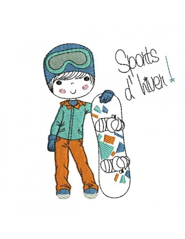 Instant download machine embroidery design little girl with a snowboard