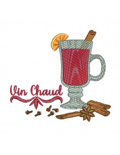 Motif de broderie machine vin chaud