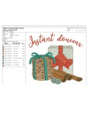 Instant download machine embroidery design Christmas gift package and cookies