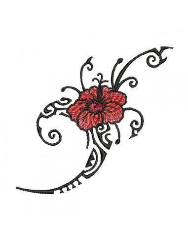Motif de broderie machine  hibiscus tribal