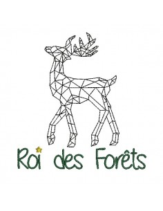 Instant download machine embroidery design geometric deer king of the forest