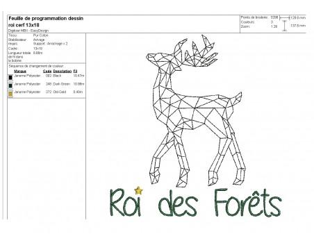 Motif de broderie machine Cerf roi de la forêt