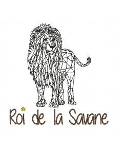 Motif de broderie machine Lion roi de la savane