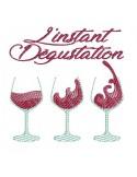Motif de broderie machine vin dégustation
