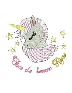 Instant download machine embroidery design  unicorn head in mylar