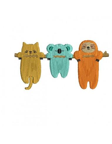 Motif de broderie machine trio d'animaux