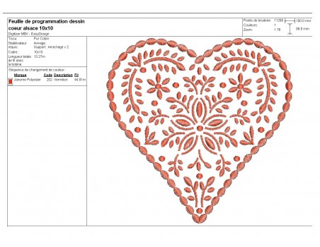 Instand download Embroidery design machine Decorative  heart