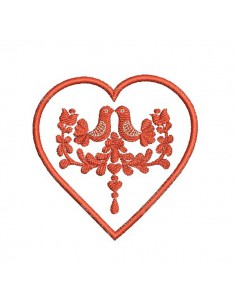 Instand download Embroidery design machine applique  heart Hongrois
