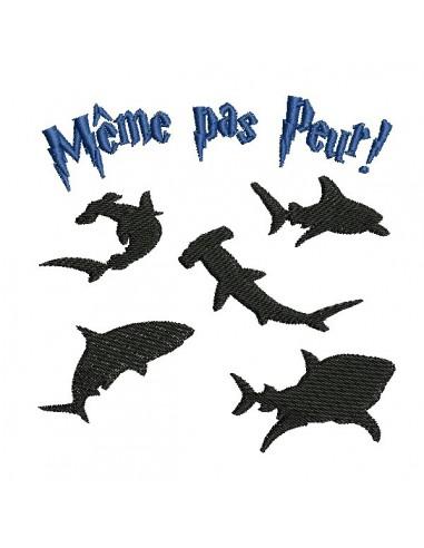 Motif de broderie machine requins même pas peur