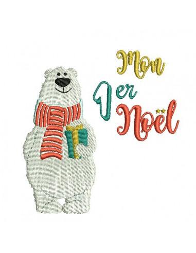 Motif de broderie machine ours  mon 1er Noël