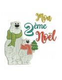 Motif de broderie machine ours  mon 2ème Noël