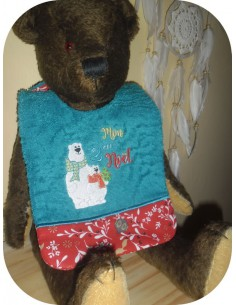 Instant download machine embroidery design ITH  Bib bear my second Christmas