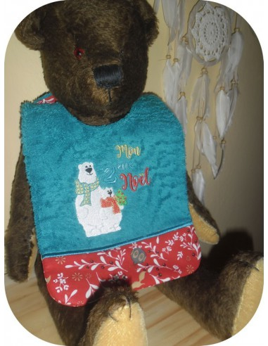 Instant download machine embroidery design ITH  Bib bear my 1st Christmas
