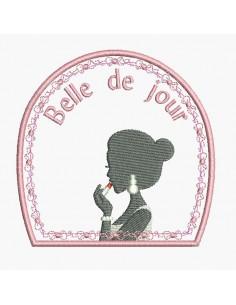 Motif de broderie machine Belle de jour femme au rouge à lèvres