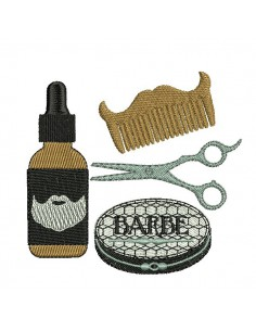Motif de broderie machine soins pour barbe