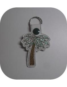 Motif de broderie machine porte clé palmier en mylar  ITH